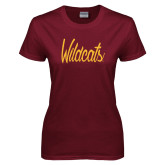 Ladies Maroon T Shirt-Wildcats Script