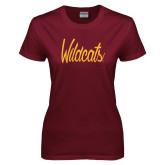 Ladies Maroon T Shirt-Wildcats Script