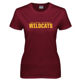 Ladies Maroon T Shirt-Bethune Cookman Wildcats Stacked