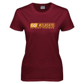 Ladies Maroon T Shirt-Wildcats in Box
