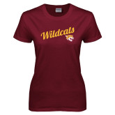 Ladies Maroon T Shirt-Wildcats w/Mascot