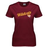 Ladies Maroon T Shirt-Wildcats w/Mascot