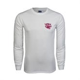 White Long Sleeve T Shirt-Wildcat Head