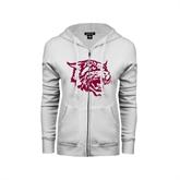 ENZA Ladies White Fleece Full Zip Hoodie-Wildcat Head