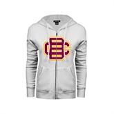 ENZA Ladies White Fleece Full Zip Hoodie-BC Logo