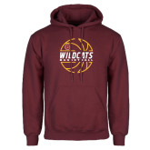 Maroon Fleece Hoodie-Basketball In Ball Design