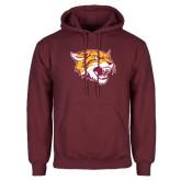 Maroon Fleece Hoodie-Wildcat Head