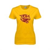 Ladies Gold T Shirt-Wildcat Head