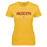 Ladies Gold T Shirt-Football Yards Design
