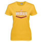 Ladies Gold T Shirt-Baseball Abstract Plate Design