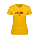 Ladies Gold T Shirt-Arched Bethune-Cookman Wildcats