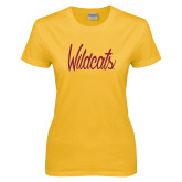 Ladies Gold T Shirt-Wildcats Script