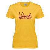 Ladies Gold T Shirt-Wildcats Script