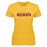 Ladies Gold T Shirt-Bethune Cookman Wildcats Stacked