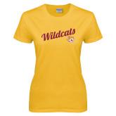 Ladies Gold T Shirt-Wildcats w/Mascot