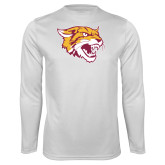 Syntrel Performance White Longsleeve Shirt-Wildcat Head