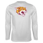 Performance White Longsleeve Shirt-Wildcat Head