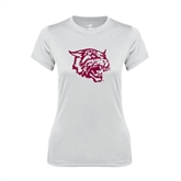 Ladies Syntrel Performance White Tee-Wildcat Head
