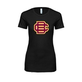 Next Level Ladies SoftStyle Junior Fitted Black Tee-BC Logo