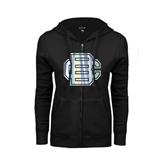 ENZA Ladies Black Fleece Full Zip Hoodie-BC Foil