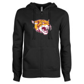 ENZA Ladies Black Fleece Full Zip Hoodie-Wildcat Head