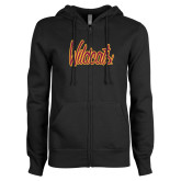 ENZA Ladies Black Fleece Full Zip Hoodie-Wildcats Script