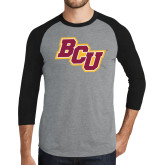 Grey/Black Tri Blend Baseball Raglan-BCU