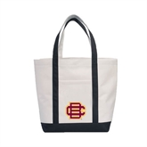 Contender White/Black Canvas Tote-BC Logo