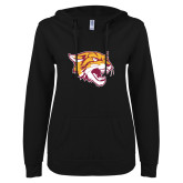 ENZA Ladies Black V Notch Raw Edge Fleece Hoodie-Wildcat Head