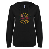ENZA Ladies Black V Notch Raw Edge Fleece Hoodie-Basketball In Ball Design
