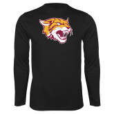 Syntrel Performance Black Longsleeve Shirt-Wildcat Head
