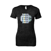 Next Level Ladies Junior Fit Black Burnout Tee-BC Foil