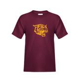 Youth Maroon T Shirt-Wildcat Head