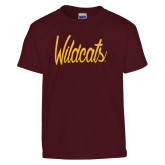 Youth Maroon T Shirt-Wildcats Script