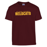 Youth Maroon T Shirt-Bethune Cookman Wildcats Stacked