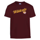 Youth Maroon T Shirt-Wildcats w/Mascot