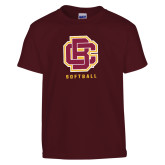 Youth Maroon T Shirt-Softball