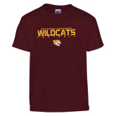 Youth Maroon T Shirt-Football Yards Design