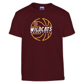 Youth Maroon T Shirt-Basketball In Ball Design