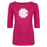 Ladies Dark Fuchsia Perfect Weight 3/4 Sleeve Tee-Primary Mark