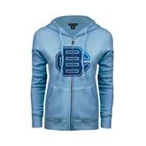 ENZA Ladies Light Blue Fleece Full Zip Hoodie-BC Foil
