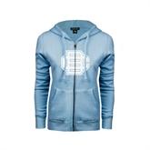 ENZA Ladies Light Blue Fleece Full Zip Hoodie-BC Logo