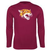 Performance Maroon Longsleeve Shirt-Wildcat Head