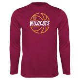 Performance Maroon Longsleeve Shirt-Basketball In Ball Design