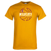 Gold T Shirt-Basketball In Ball Design