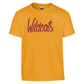 Youth Gold T Shirt-Wildcats Script