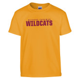 Youth Gold T Shirt-Bethune Cookman Wildcats Stacked