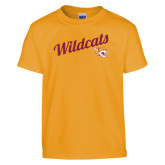 Youth Gold T Shirt-Wildcats w/Mascot