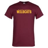Maroon T Shirt-Bethune Cookman Wildcats Stacked