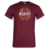 Maroon T Shirt-Basketball In Ball Design